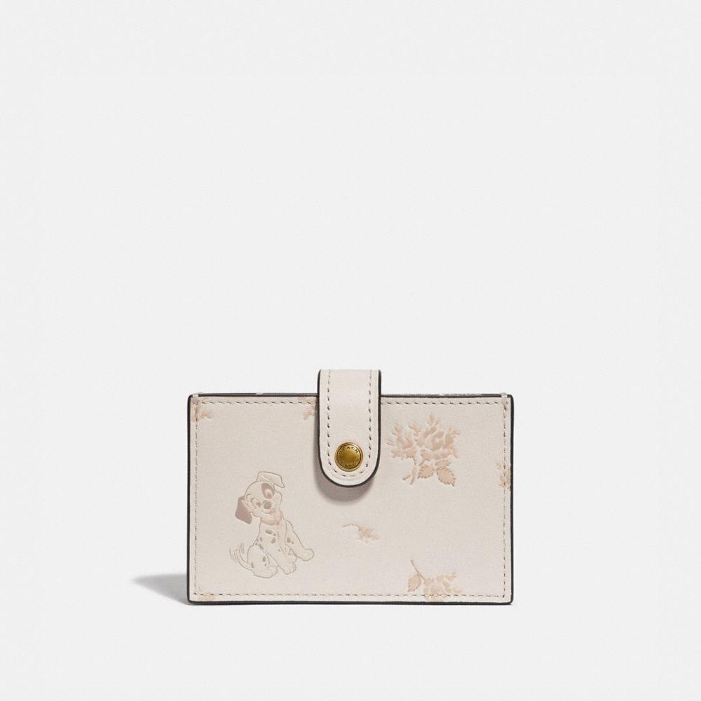 disney x coach accordion card case with dalmatian floral print