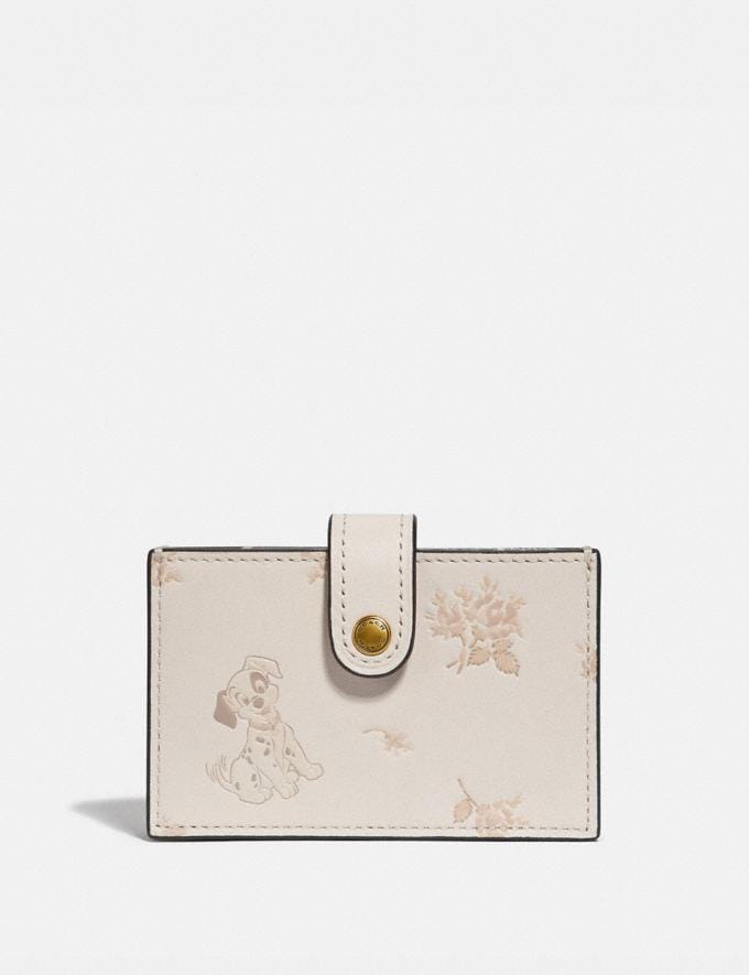 Coach Disney X Coach Accordion Card Case With Dalmatian Floral Print Multi/Brass Women Small Leather Goods Card Cases