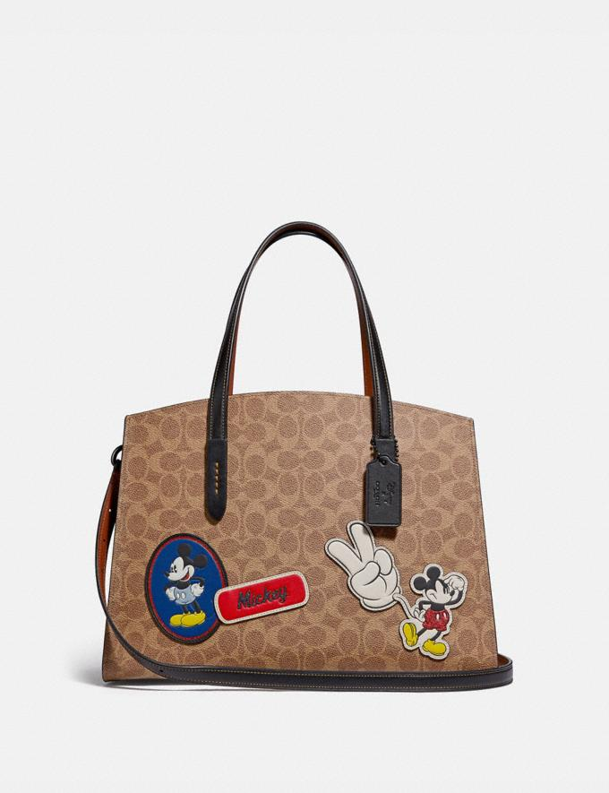 Coach Disney X Coach Charlie Carryall in Signature Canvas With Patches Pewter/Tan Black Multi New Featured Disney X Coach