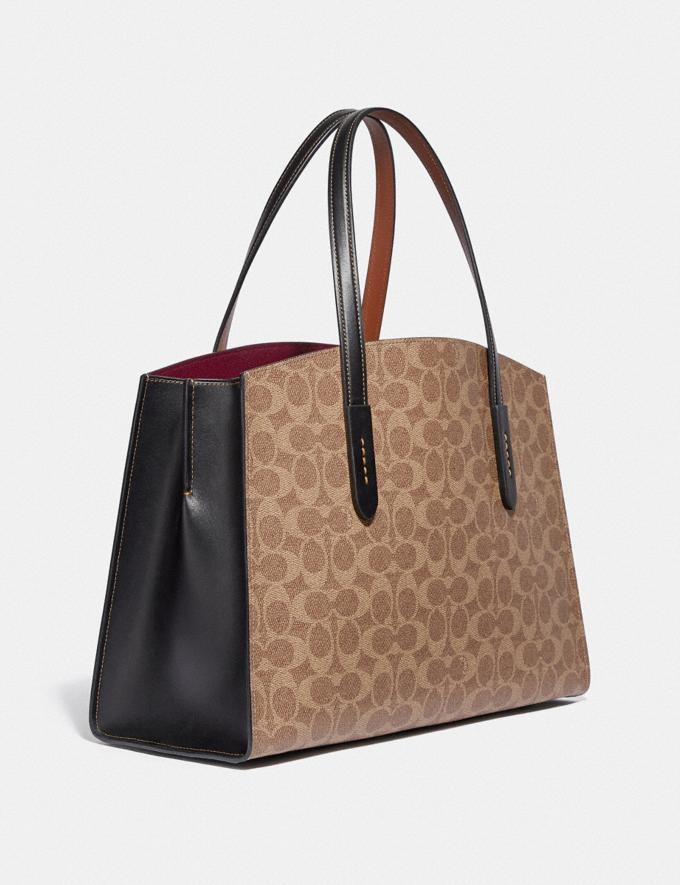 Coach Disney X Coach Charlie Carryall in Signature Canvas With Patches Pewter/Tan Black Multi Women Collection Signature Alternate View 1
