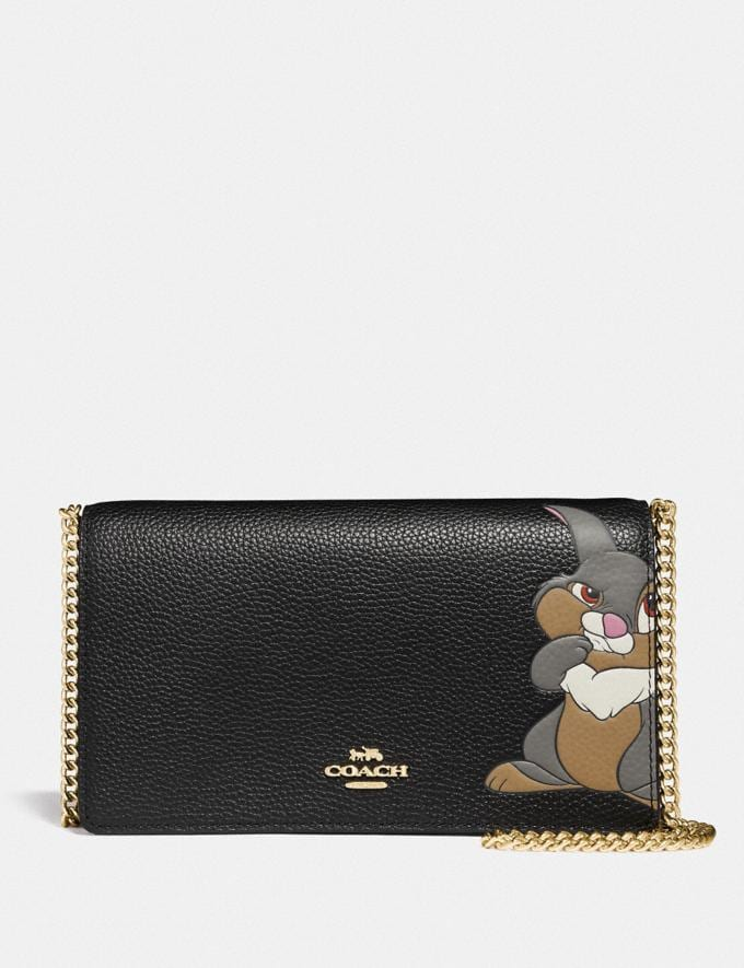 Coach Disney X Coach Callie Foldover Chain Clutch With Thumper Black/Gold Women Small Leather Goods Wristlets