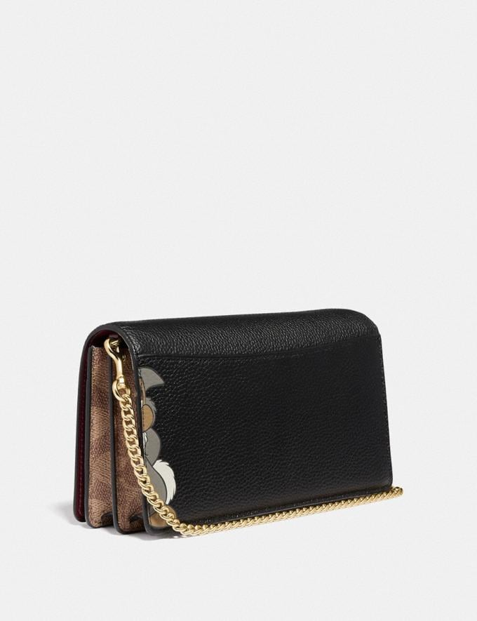 Coach Disney X Coach Callie Foldover Chain Clutch With Thumper Black/Gold Women Small Leather Goods Wristlets Alternate View 1