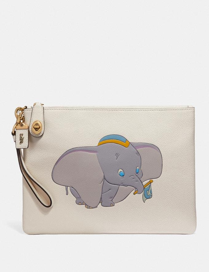 Coach Disney X Coach Turnlock Wristlet 30 With Dumbo Chalk/Brass Women Bags Clutches