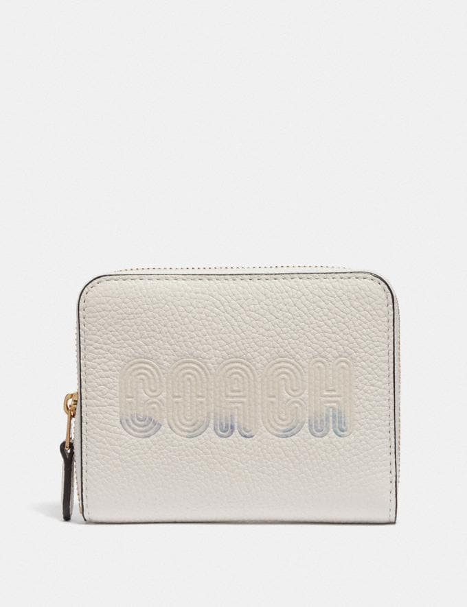 Coach Small Zip Around Wallet With Coach Print Chalk/Gold Women Wallets & Wristlets Small Wallets