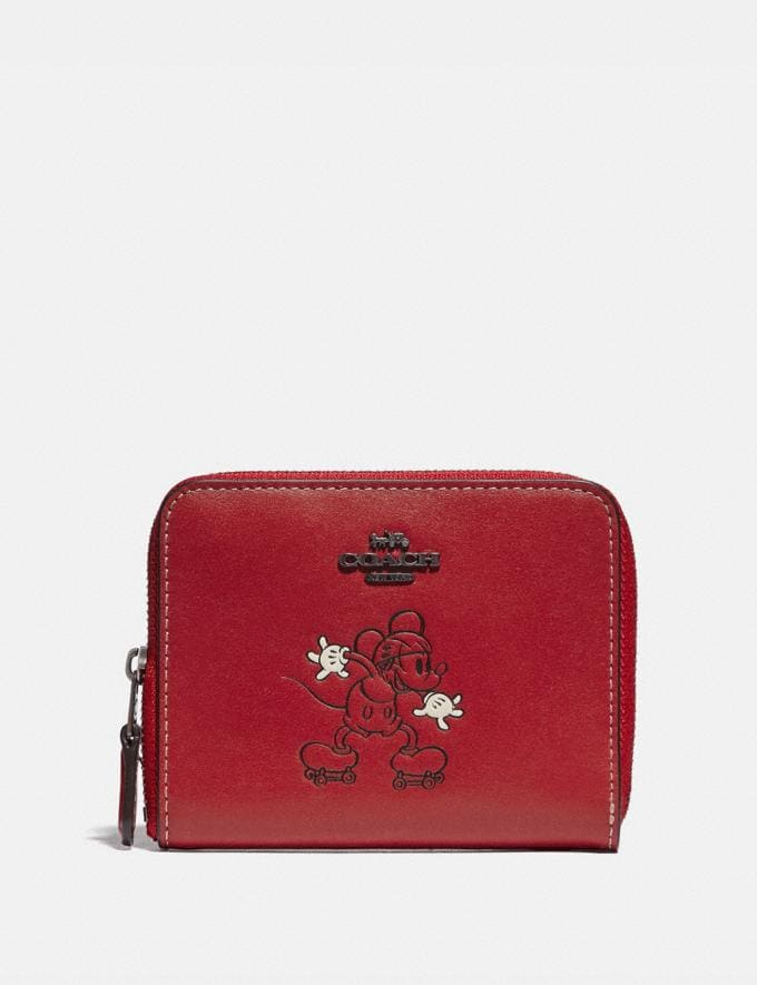 Coach Disney X Coach Small Zip Around Wallet With Disney Motif Pewter/1941 Red Gifts For Her