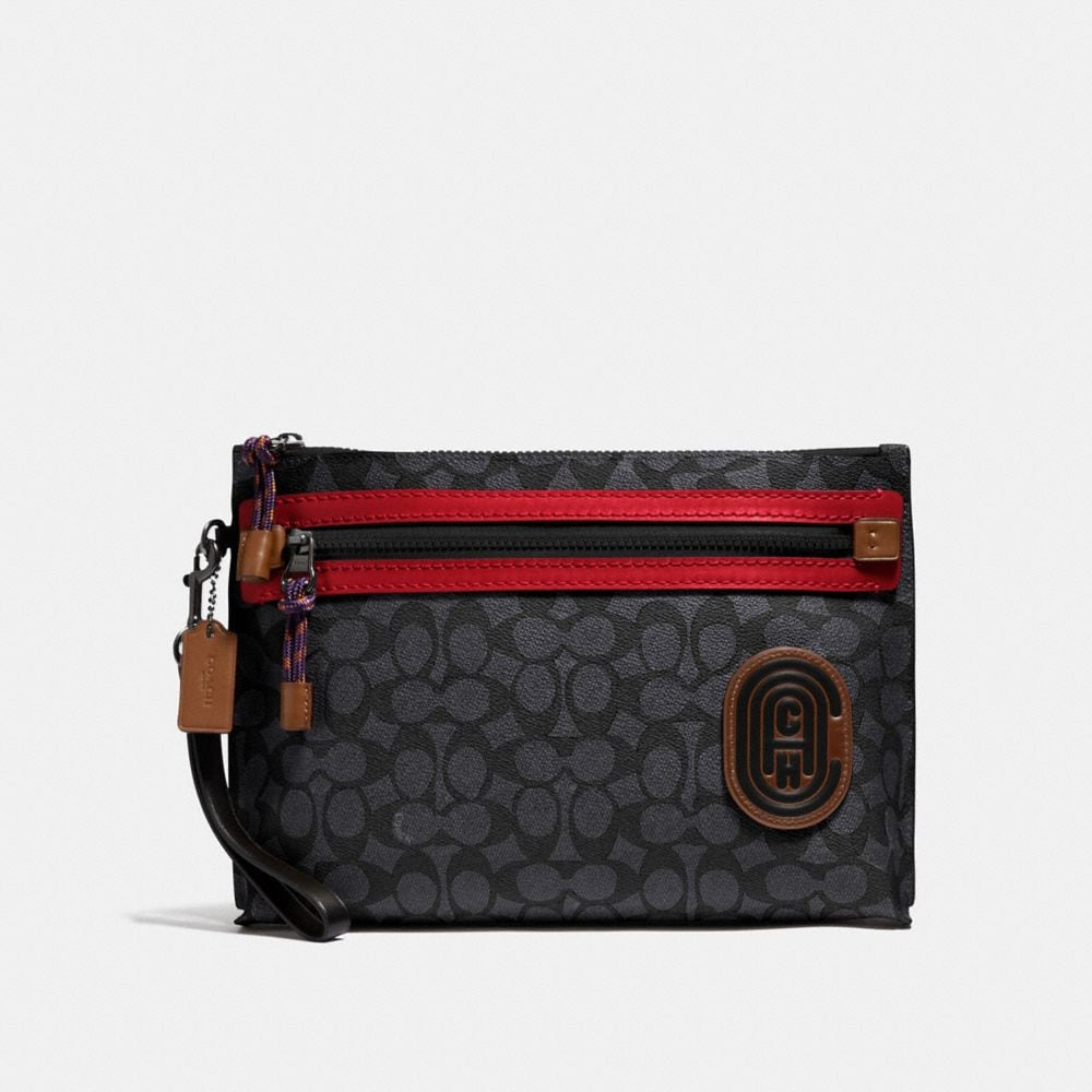 Coach Academy Pouch in Signature Canvas With Coach Patch