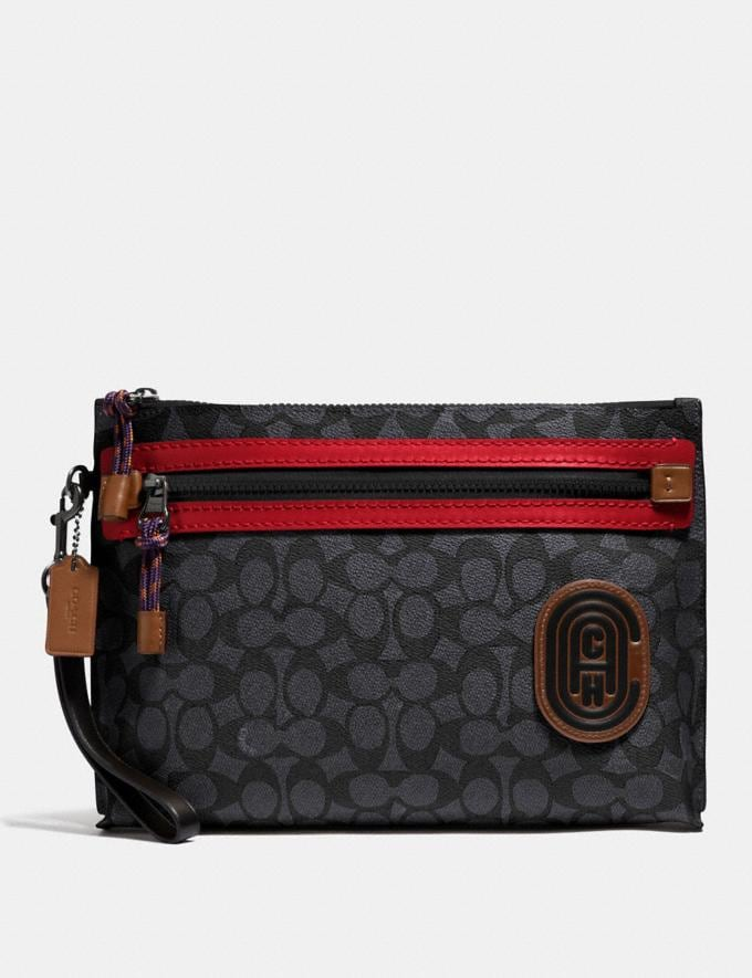 Coach Academy Pouch in Signature Canvas With Coach Patch Charcoal Men Edits Travel