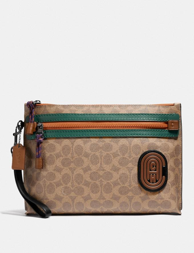 Coach Academy Pouch in Signature Canvas With Coach Patch Khaki Men Accessories Lifestyle