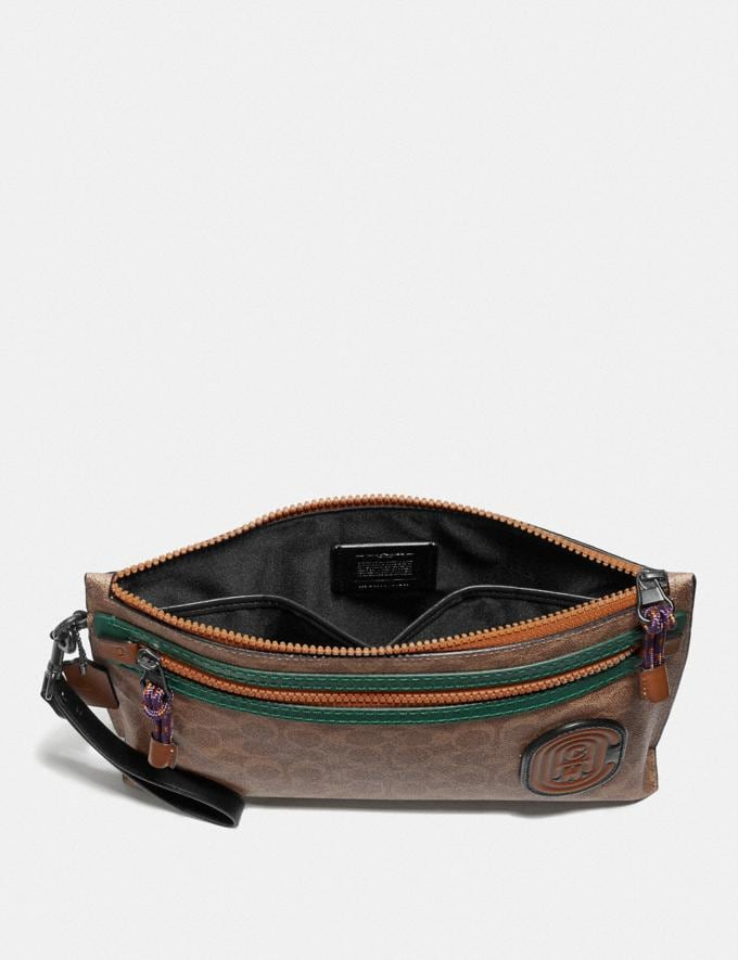 Coach Academy Pouch in Signature Canvas With Coach Patch Khaki Men Accessories Lifestyle Alternate View 1