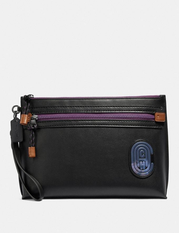 Coach Academy Pouch With Coach Patch Black Men Accessories Tech & Travel