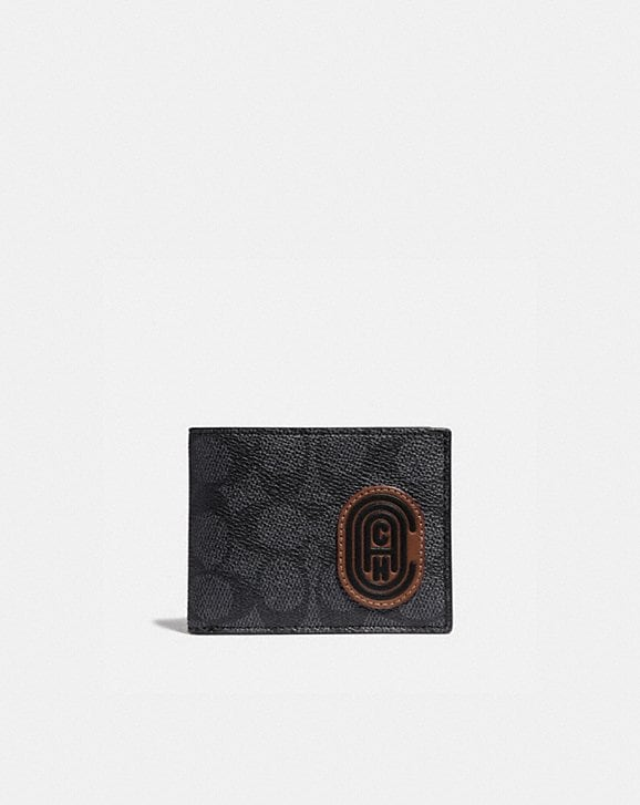 Coach SLIM BILLFOLD WALLET IN SIGNATURE CANVAS WITH COACH PATCH