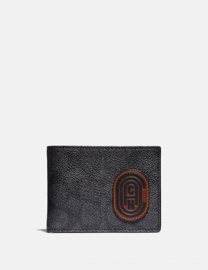Coach Slim Billfold Wallet in Signature Canvas With Coach Patch Charcoal/Sport Blue New Men's New Arrivals Wallets