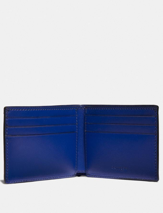 Coach Slim Billfold Wallet in Signature Canvas With Coach Patch Charcoal/Sport Blue New Men's New Arrivals Wallets Alternate View 1