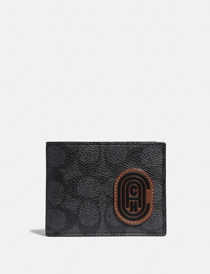 Coach Slim Billfold Wallet in Signature Canvas With Coach Patch Charcoal/Deep Sky New Featured Signature Styles