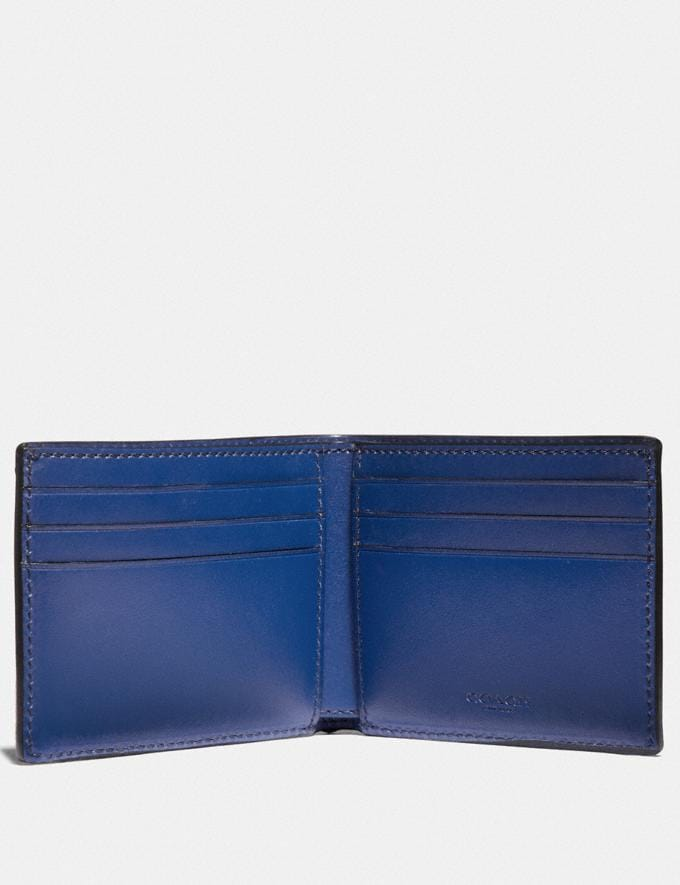 Coach Slim Billfold Wallet in Signature Canvas With Coach Patch Charcoal/Deep Sky New Featured Signature Styles Alternate View 1