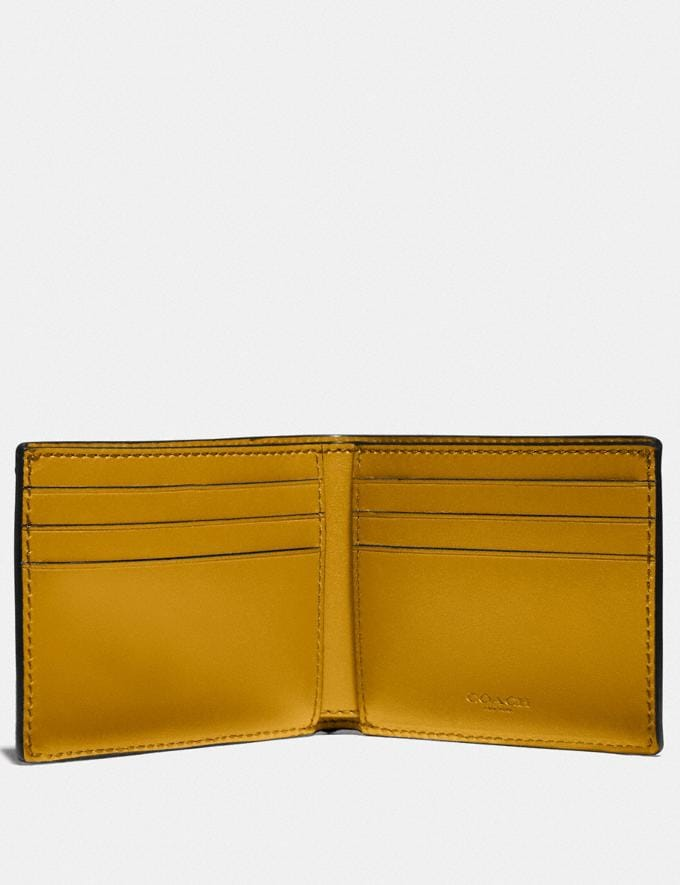 Coach Slim Billfold Wallet in Signature Canvas With Coach Patch Khaki/Flax Men Edits Work Alternate View 1