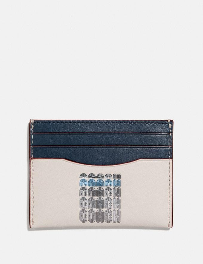 Coach Card Case With Coach Print Chalk Men Wallets Card Cases