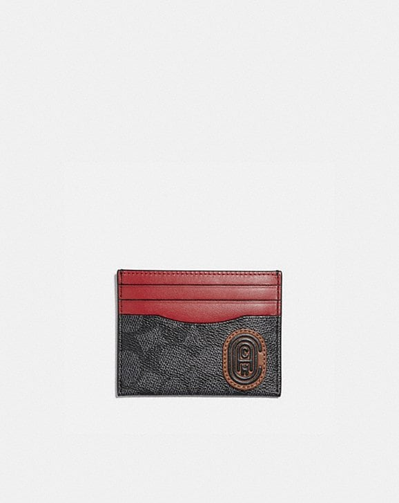 Coach CARD CASE IN SIGNATURE CANVAS WITH COACH PRINT