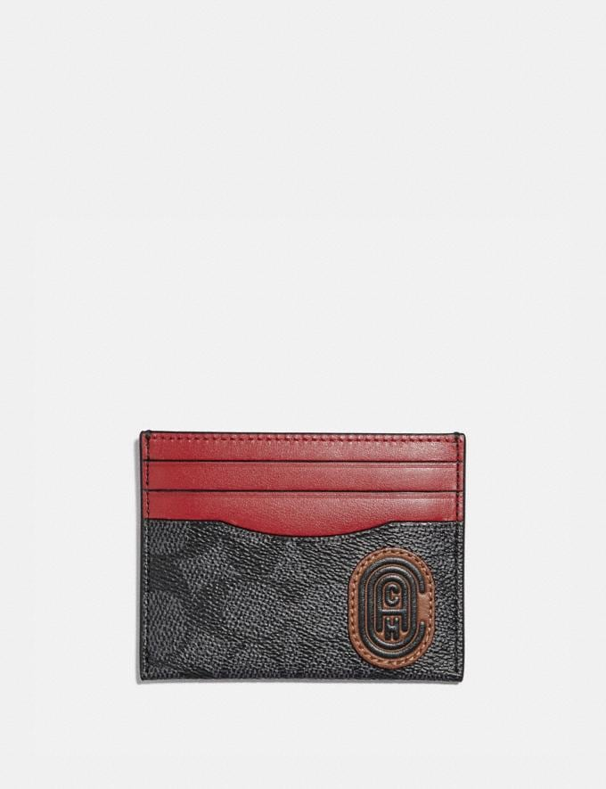 Coach Card Case in Signature Canvas With Coach Print Charcoal Men Wallets
