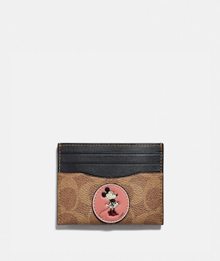 DISNEY X COACH CARD CASE IN SIGNATURE CANVAS WITH PATCHES