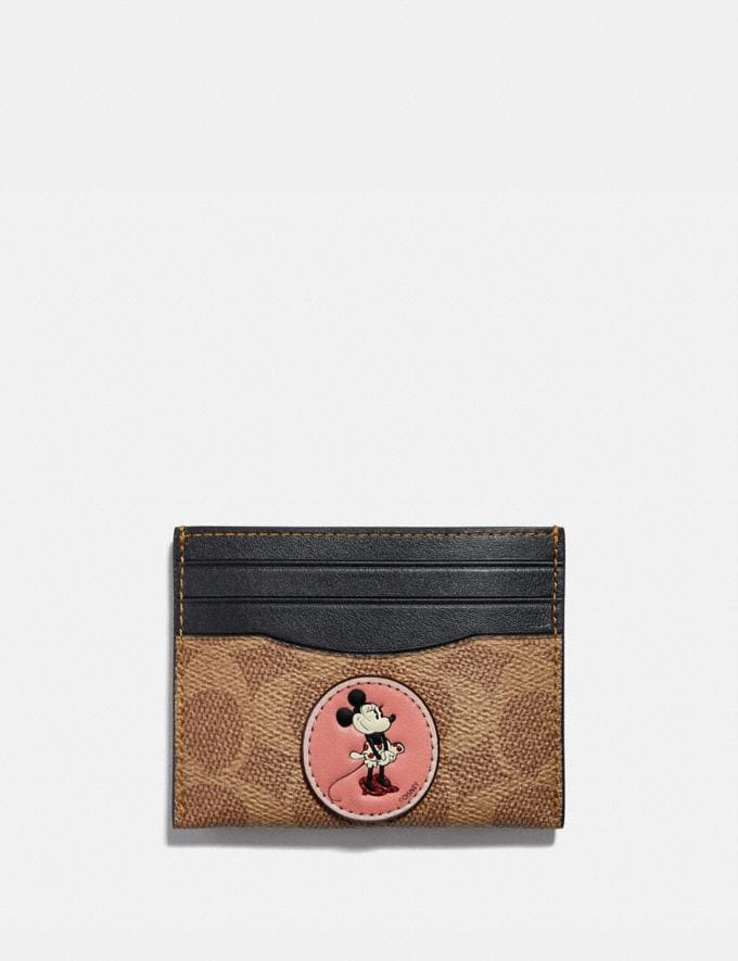 Coach Disney X Coach Card Case in Signature Canvas With Patches Gunmetal/Tan Black Women Collection Signature