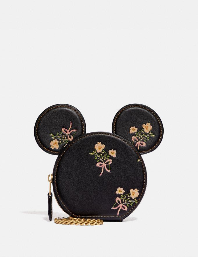 Coach Disney X Coach Minnie Mouse Coin Case With Floral Print Brass/Black Gifts For Her Under $100