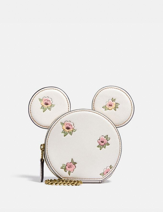Coach Disney X Coach Minnie Mouse Coin Case With Floral Print Brass/Chalk Women Wallets & Wristlets Small Wallets