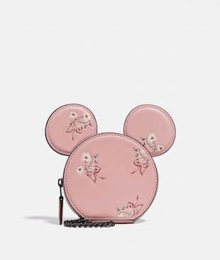 DISNEY X COACH MINNIE MOUSE COIN CASE WITH FLORAL PRINT