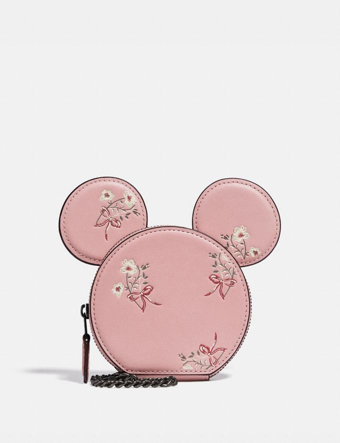 Coach Disney X Coach Minnie Mouse Coin Case With Floral Print Pewter/Blossom Women Wallets & Wristlets Small Wallets