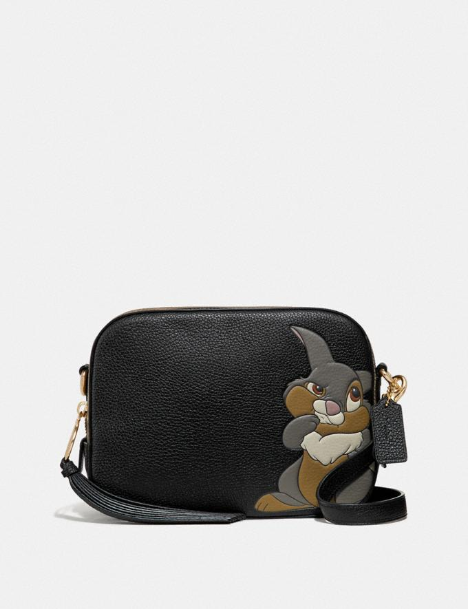 Coach Disney X Coach Camera Bag With Thumper Black/Gold Women Bags Crossbody Bags