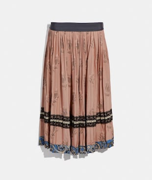 TULIP PRINT PLEATED SKIRT