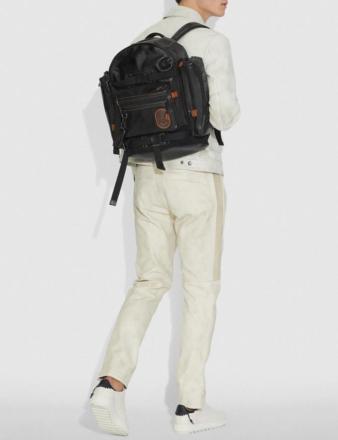 Coach Ridge Backpack With Coach Patch Black/Black Copper Men Bags Backpacks Alternate View 3