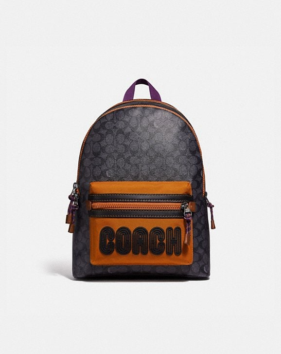 Coach ACADEMY BACKPACK IN SIGNATURE CANVAS WITH COACH PRINT