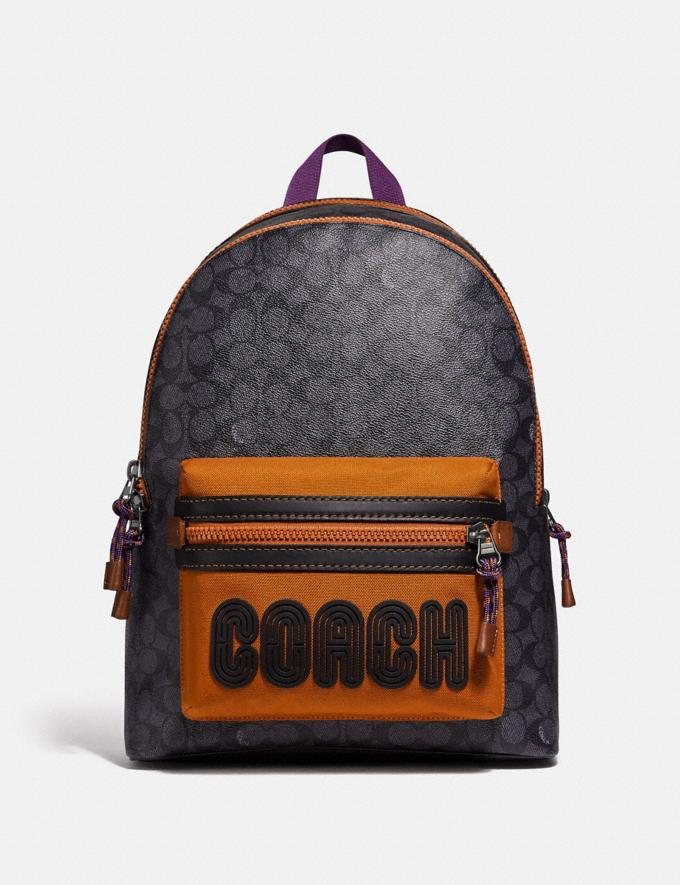 Coach Academy Backpack in Signature Canvas With Coach Print Charcoal/Black Copper Men Bags Backpacks