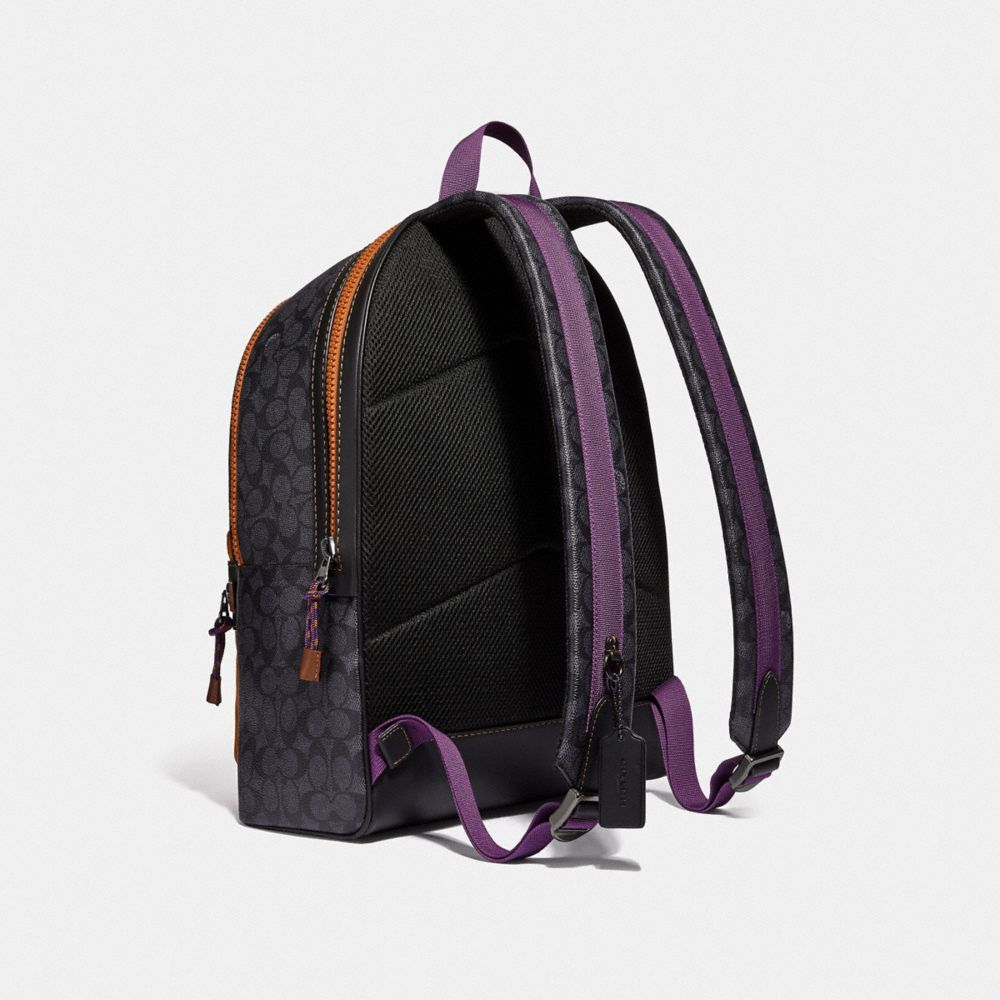 Coach Academy Backpack in Signature Canvas With Coach Print Alternate View 1