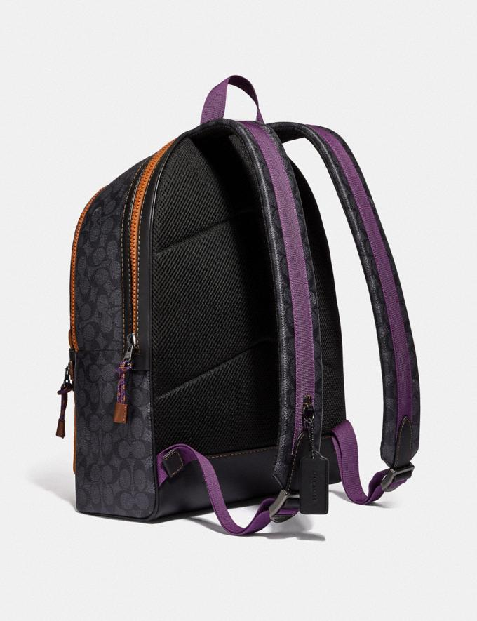 Coach Academy Backpack in Signature Canvas With Coach Print Charcoal/Black Copper Men Bags Backpacks Alternate View 1