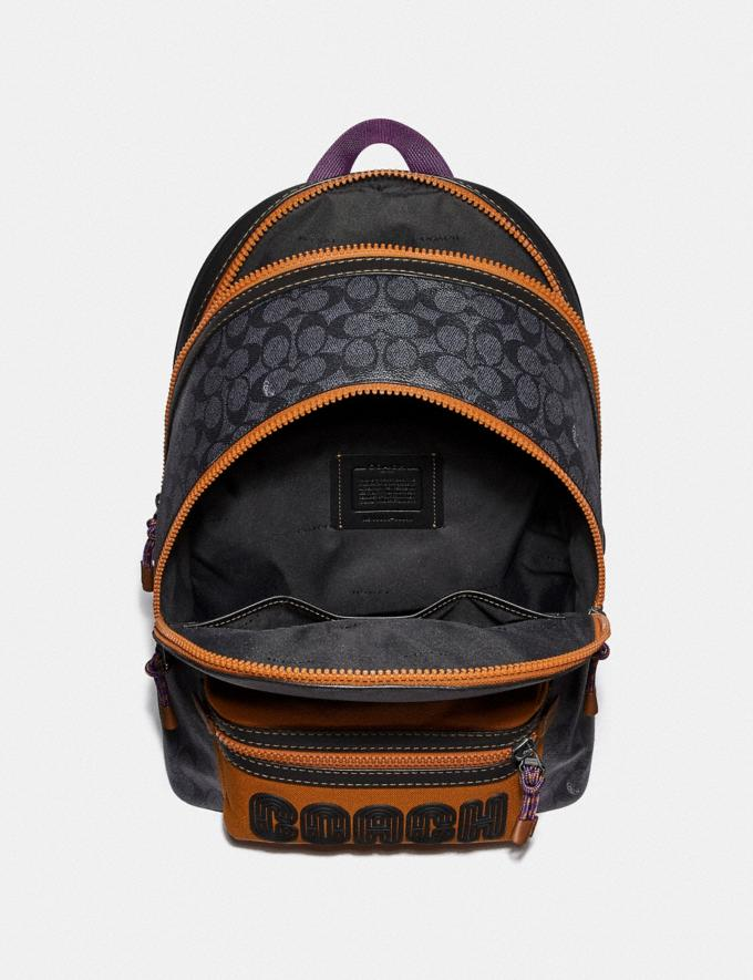 Coach Academy Backpack in Signature Canvas With Coach Print Charcoal/Black Copper Men Bags Backpacks Alternate View 2
