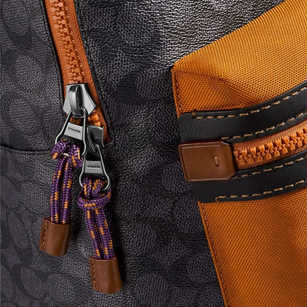 Coach Academy Backpack in Signature Canvas With Coach Print Alternate View 3