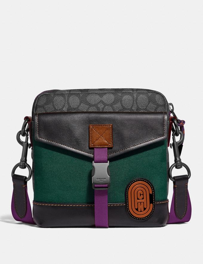 Coach Crossbody in Signature Canvas With Coach Patch Charcoal/Black Copper Men Bags Messenger & Crossbody