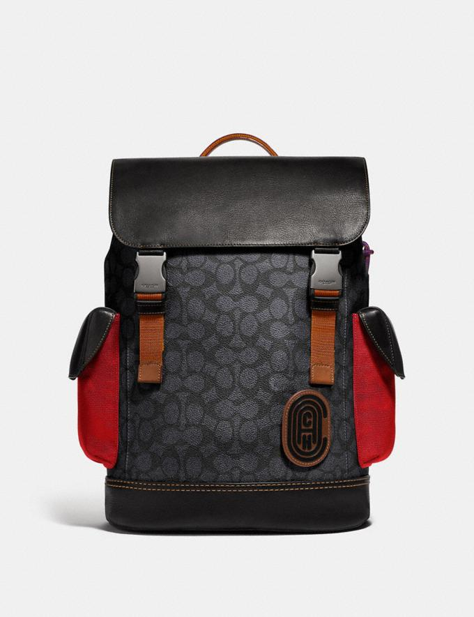 Coach Rivington Backpack in Signature Canvas With Coach Patch Black Copper/Charcoal Men Bags Backpacks