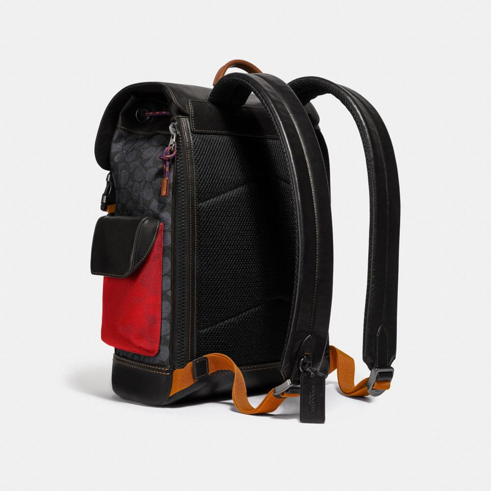 Coach Rivington Backpack in Signature Canvas With Coach Patch Alternate View 1