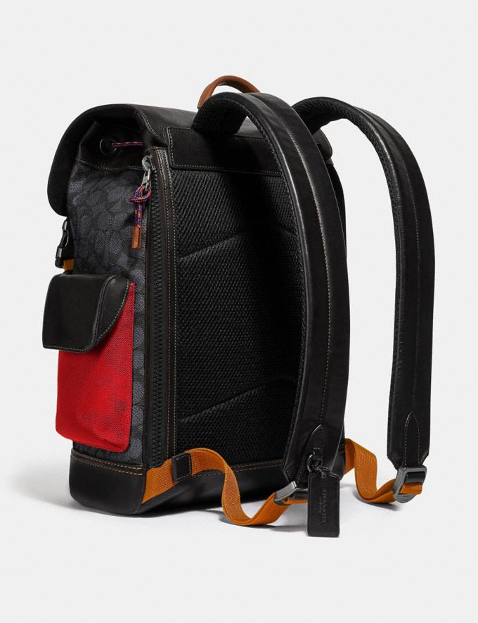 Coach Rivington Backpack in Signature Canvas With Coach Patch Black Copper/Charcoal Men Bags Backpacks Alternate View 1