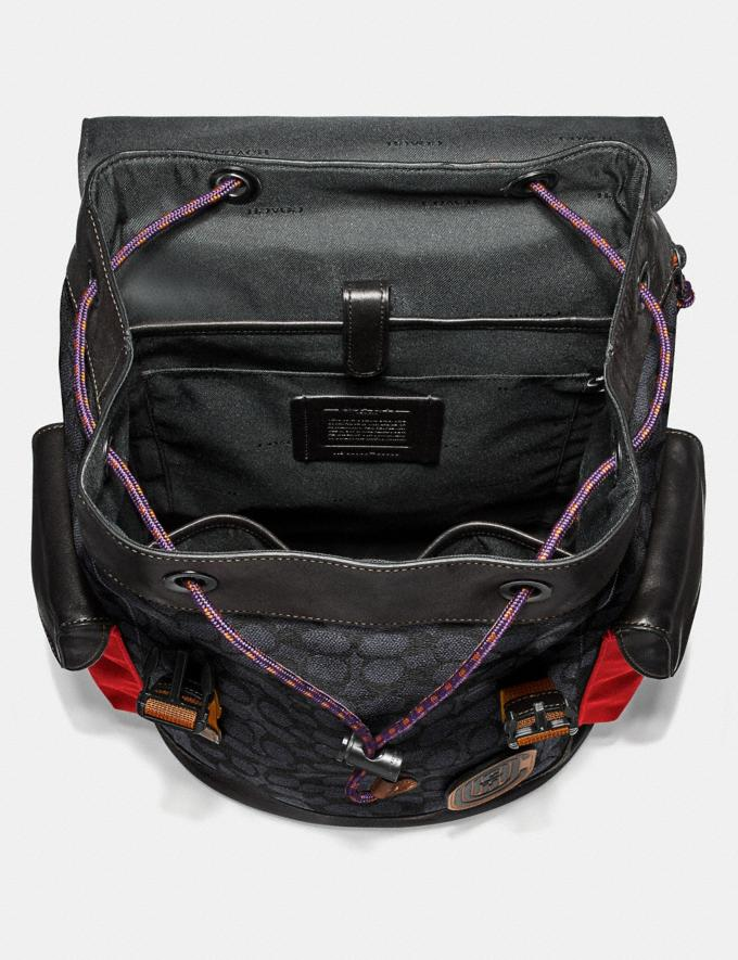 Coach Rivington Backpack in Signature Canvas With Coach Patch Black Copper/Charcoal Men Bags Backpacks Alternate View 2