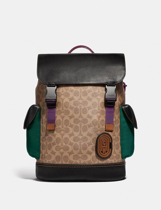 Coach Rivington Backpack in Signature Canvas With Coach Patch Khaki/Black Copper Finish Men Bags Backpacks