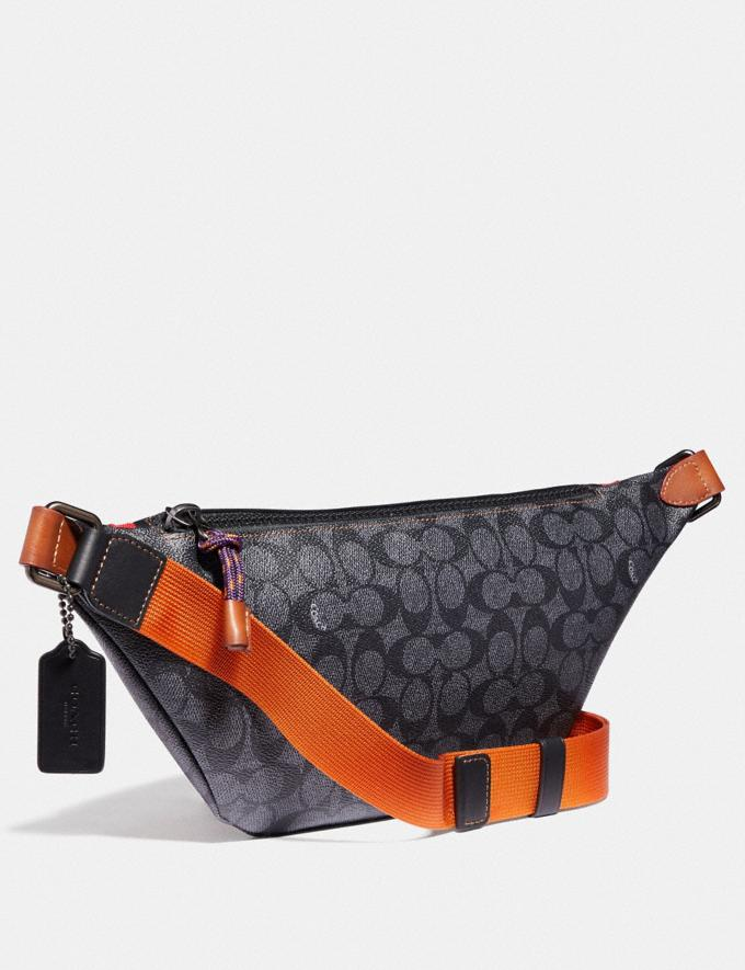 Coach Rivington Belt Bag in Signature Canvas With Coach Print Charcoal/Black Copper Women Bags Belt Bags Alternate View 1
