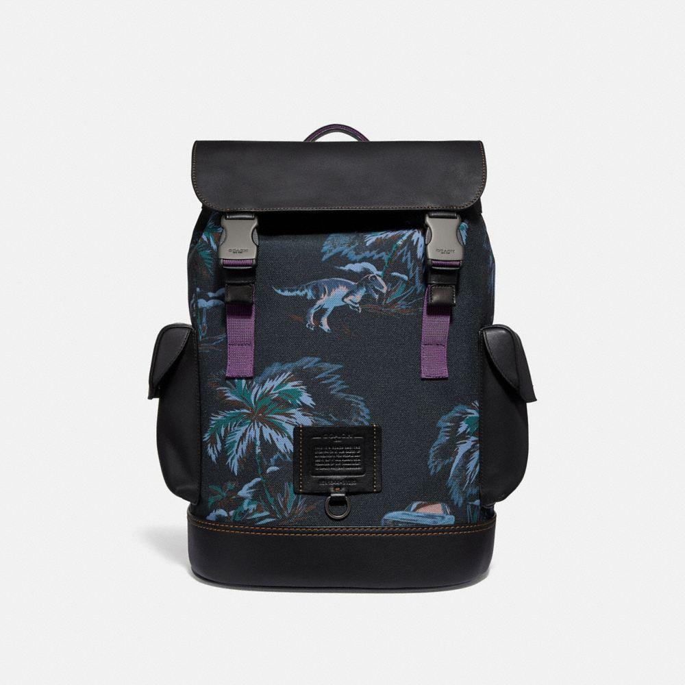 black navy dino palm print/black copper