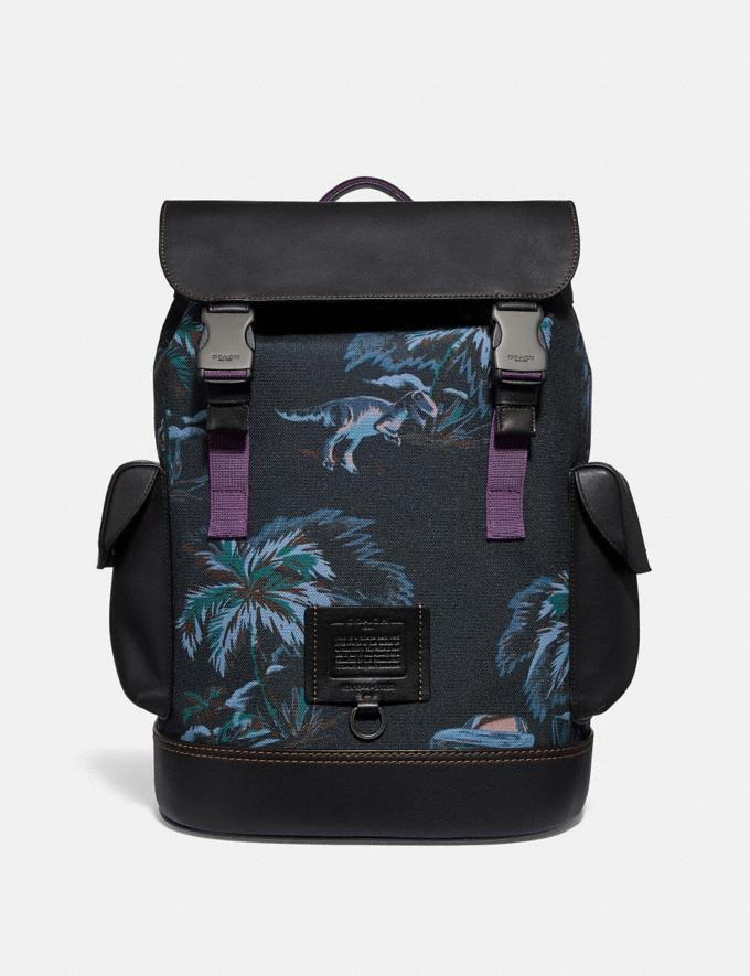 Coach Rivington Backpack With Palm Tree Print Black Navy Dino Palm Print/Black Copper Men Bags Backpacks