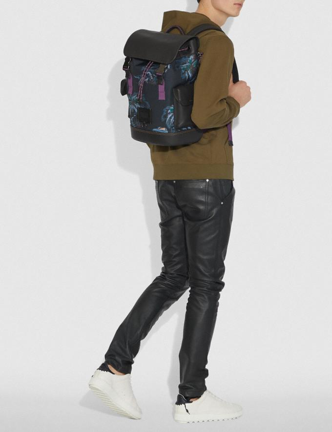 Coach Rivington Backpack With Palm Tree Print Black Navy Dino Palm Print/Black Copper Men Bags Backpacks Alternate View 3