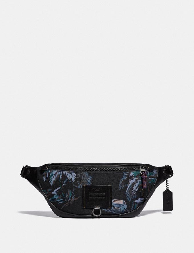 Coach Rivington Belt Bag With Palm Tree Print Black Navy Dino Palm Print/Black Copper Men Bags Belt Bags