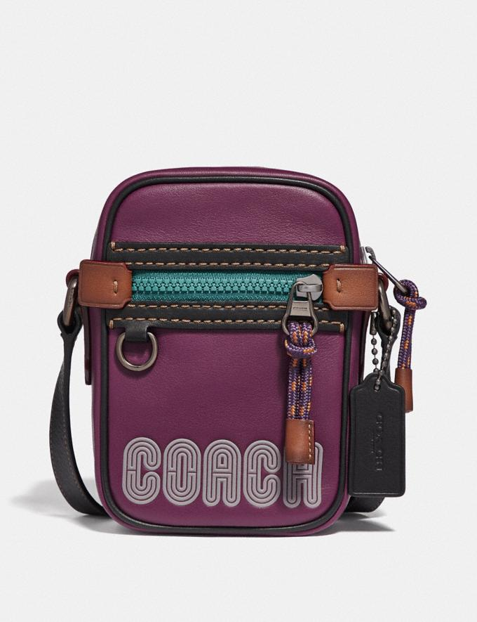 Coach Dylan 10 in Smooth Leather With Coach Print Plum/Black/Black Copper Men Bags Messenger Bags